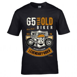 Premium 65 Year Old Biker Legendary Rider Cafe Racer Style Motif For 65th Birthday gift T-shirt Top